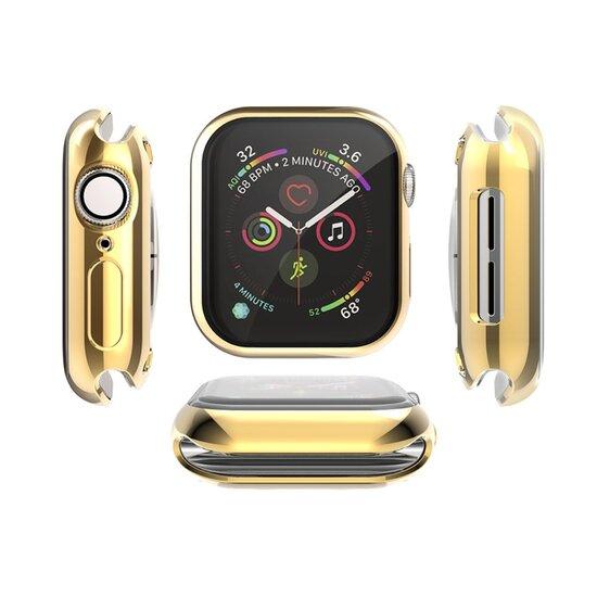 Siliconen case (volledig beschermd) 44mm - Goud - Geschikt voor Apple watch 44mm