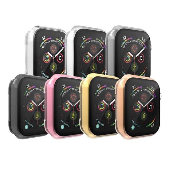 Siliconen case (volledig beschermd) 44mm - Transparant - Geschikt voor Apple watch 44mm