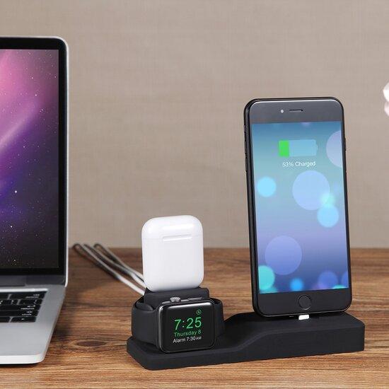 3 in 1 houder geschikt voor Apple Watch & Airpods & iPhone - Blauw
