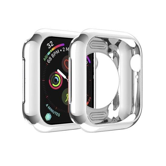 Siliconen case 44mm - Zilver - Geschikt voor Apple Watch 44mm