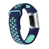 Fitbit Charge 3 siliconen DOT bandje - Mint / Blauw (Large)_