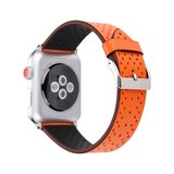 Leren Apple watch bandje 42mm / 44mm - Dot pattern - Oranje_