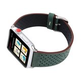 Leren Apple watch bandje 42mm / 44mm - Dot pattern - Donker groen_