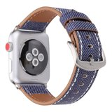 Lederen Apple watch bandje 42mm / 44mm - Denim pattern - Donker blauw_