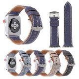 Lederen Apple watch bandje 42mm / 44mm - Denim pattern - Licht bruin_