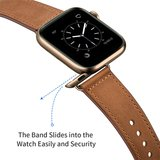 Lederen Apple Watch bandje 38mm / 40mm - Bruin_