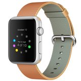 Nylon Apple watch 42mm / 44mm bandje - Licht bruin / Rood_