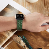 Leren Apple watch bandje 38mm / 40mm - Woven pattern - Groen_