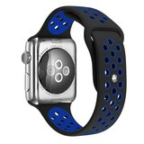 Apple watch sportbandje 42mm / 44mm - Zwart + Blauw_