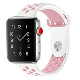 Apple watch sportbandje 38mm / 40mm - Wit + Roze_