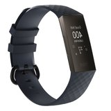 Fitbit Charge 3 & 4 siliconen diamant pattern bandje (Small) - Navy blauw_