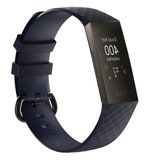 Fitbit Charge 3 & 4 siliconen diamant pattern bandje (Small) - Blauw_