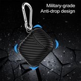 AirPods carbon fiber hoesje voor AirPods 1/2 - Rood + handige clip_