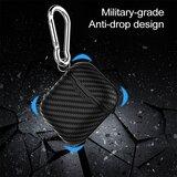 AirPods carbon fiber hoesje voor AirPods 1/2 - Blauw + handige clip_
