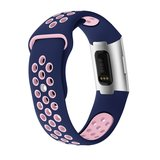 Fitbit Charge 3 & 4 siliconen DOT bandje - Roze / Blauw (Small)_