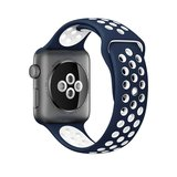 Apple watch sportbandje 38mm / 40mm - Blauw + Wit_