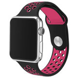 Apple watch sportbandje 42mm / 44mm - Zwart + Roze_