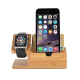Houten Apple watch / iPhone houder - Bamboe (incl. USB poorten)_