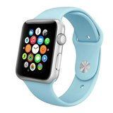 Apple watch 42mm / 44mm rubberen sport bandje - Baby blauw_