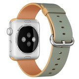 Nylon Apple watch 42mm / 44mm bandje - Licht bruin / Blauw_