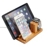 Houten Apple watch, iPhone en iPad houder - Bamboe_