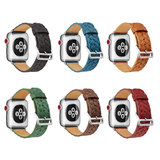Leren Apple watch bandje 42mm / 44mm - Woven pattern - Rood_