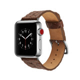 Leren Apple watch bandje 42mm / 44mm - Woven pattern - Donker bruin_