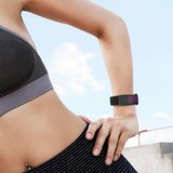 Fitbit Charge 3 siliconen DOT bandje - Paars / Zwart (Small)_