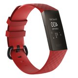 Fitbit Charge 3 siliconen diamant pattern bandje (Large) - Rood_