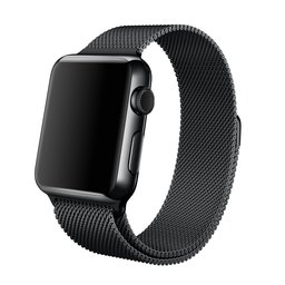 Milanees Apple watch bandje 42mm RVS - Zwart
