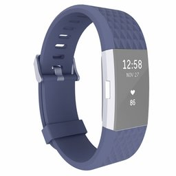Fitbit Charge 2 siliconen bandje, Lengte: 23CM - Donker blauw