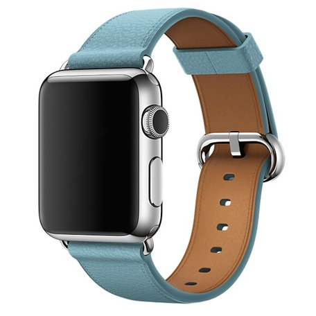 Apple watch classic lederen band 42/44 mm - Licht blauw