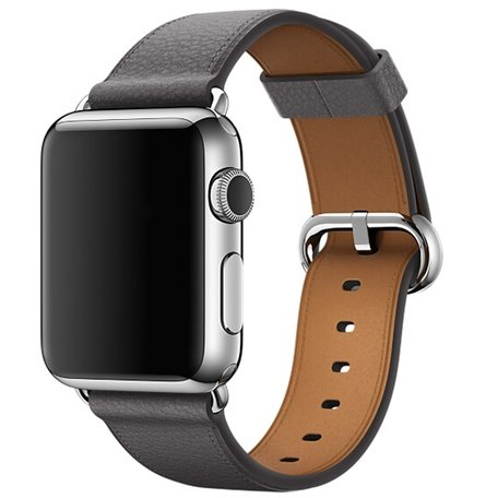 Apple watch classic lederen band 42/44 mm - Grijs