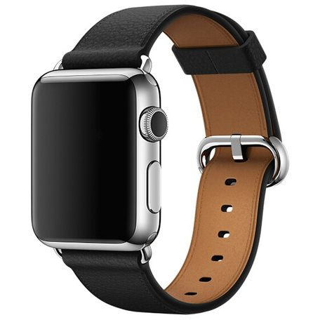 Apple watch classic lederen band 42/44 mm - Zwart