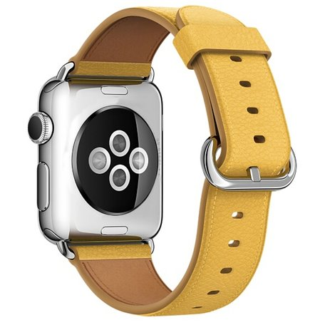 Apple watch classic lederen band 42/44 mm - Geel