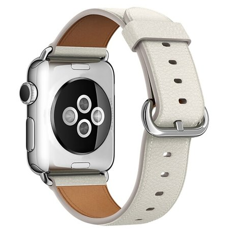 Apple watch classic lederen band 38/40mm - Wit