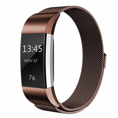 Fitbit Charge 2 milanese bandje - Bruin