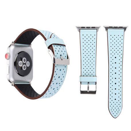 Leren Apple watch bandje 42mm / 44mm - Dot pattern - Licht blauw