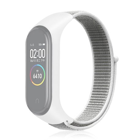 Nylon Geweven Bandje Xiaomi Mi Band 3 / 4 - Wit
