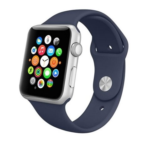 Apple watch 42mm / 44mm rubberen sport bandje - Donker blauw
