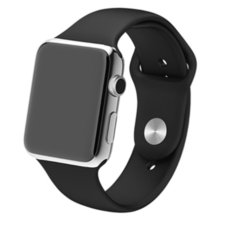 Apple watch 42mm / 44mm rubberen bandje sport - Zwart