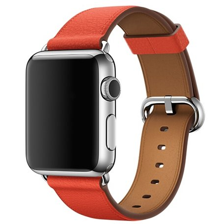 Apple watch classic lederen band 42/44 mm - Oranje-bruin