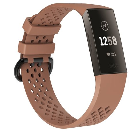 Fitbit Charge 3 & 4 sport bandje (large) - Lichtbruin