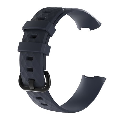 Fitbit Charge 3 & 4 siliconen diamant pattern bandje (Large) - Navy blauw
