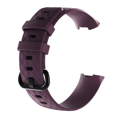 Fitbit Charge 3 & 4 siliconen diamant pattern bandje (Large)  - Donker paars