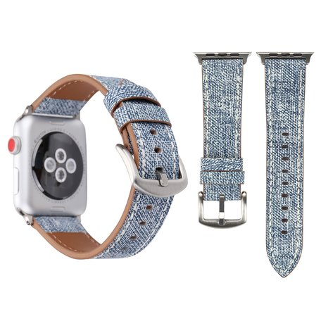 Lederen Apple watch bandje 42mm / 44mm - Denim pattern - Licht blauw