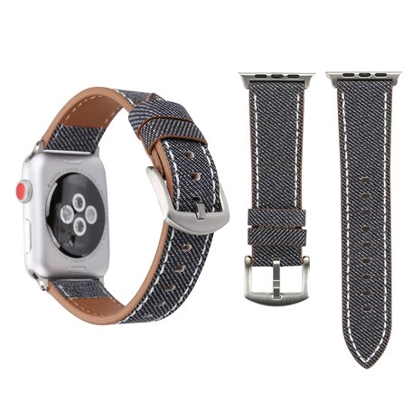 Lederen Apple watch bandje 42mm / 44mm - Denim pattern - Grijs