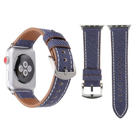 Lederen Apple watch bandje 42mm / 44mm - Denim pattern - Donker blauw