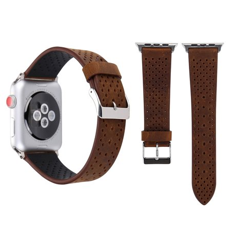 Leren Apple watch bandje 42mm / 44mm - Dot pattern - Bruin