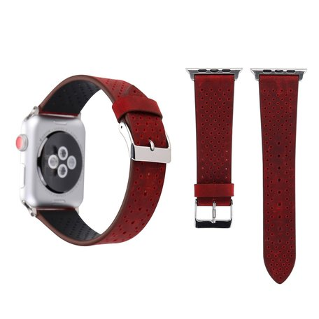 Leren Apple watch bandje 42mm / 44mm - Dot pattern - Rood